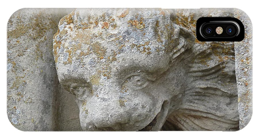 Chartres IPhone X Case featuring the photograph Chartres Cathedral Carved Head by Deborah Smolinske