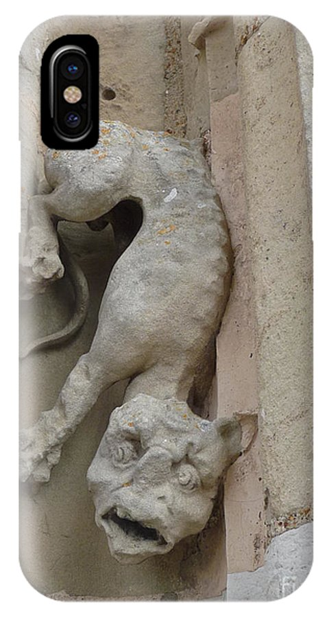 Chartres IPhone X Case featuring the photograph Chartres Cathedral Dog Gargoyle by Deborah Smolinske