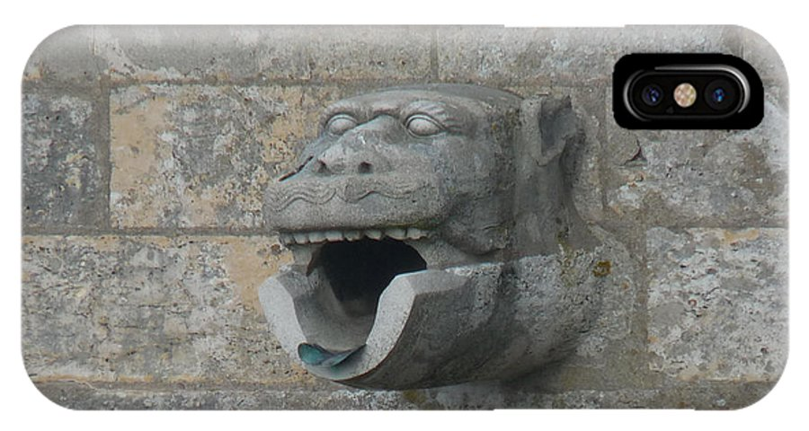 Chartres IPhone X Case featuring the photograph Chartres Cathedral Gargoyle Drain by Deborah Smolinske