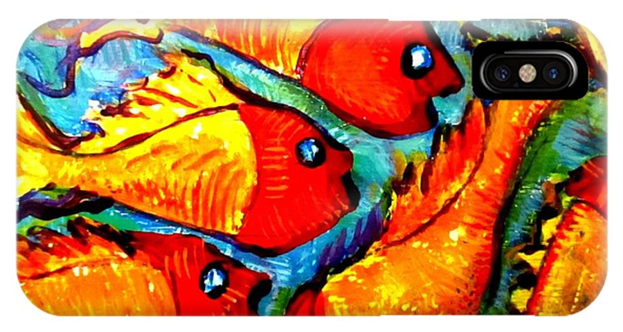 Red Fish IPhone X Case featuring the painting Chasing Red Fish by Martha Nelson