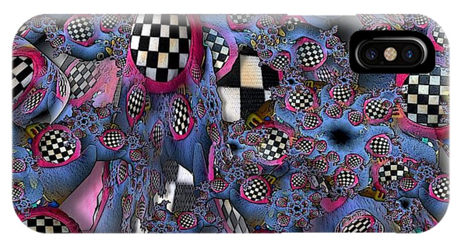 Collage IPhone X Case featuring the digital art Checker by Ron Bissett