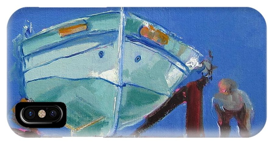 Boats IPhone X Case featuring the painting Checking It Out by Barbara Andolsek