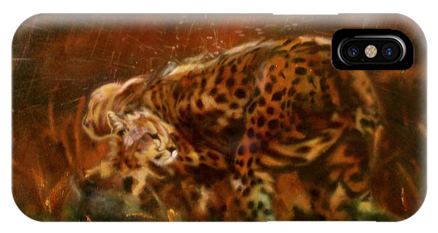 Rain;water;cats;africa;wildlife;animals;mother;shelter;brush;bush IPhone X Case featuring the painting Cheetah Family After The Rains by Sean Connolly