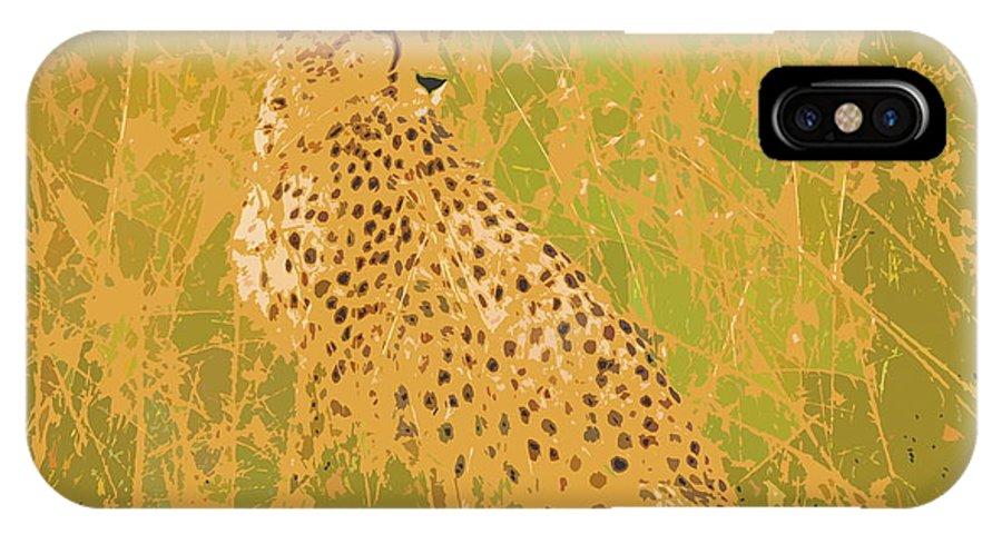 Cheetah IPhone X Case featuring the digital art Cheetah by Ronald Jansen