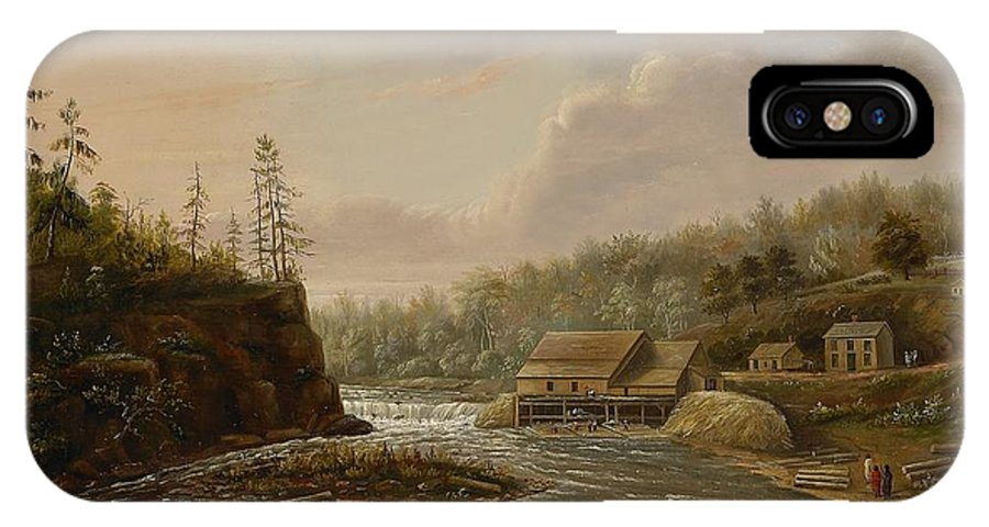 Cheever's Mill; St. Croix River; Landscape; Minnesota; Mill; Building; Industry; Industrial; Industrialisation; Boat; Figures; Houses; Buildings; Exterior; Flowing; Water; Trees; Woodland; Logging; Timber; America; American; Usa; Settlers; Settlement; Hudson River School; Wood IPhone X Case featuring the painting Cheevers Mill On The St. Croix River by Henry Lewis