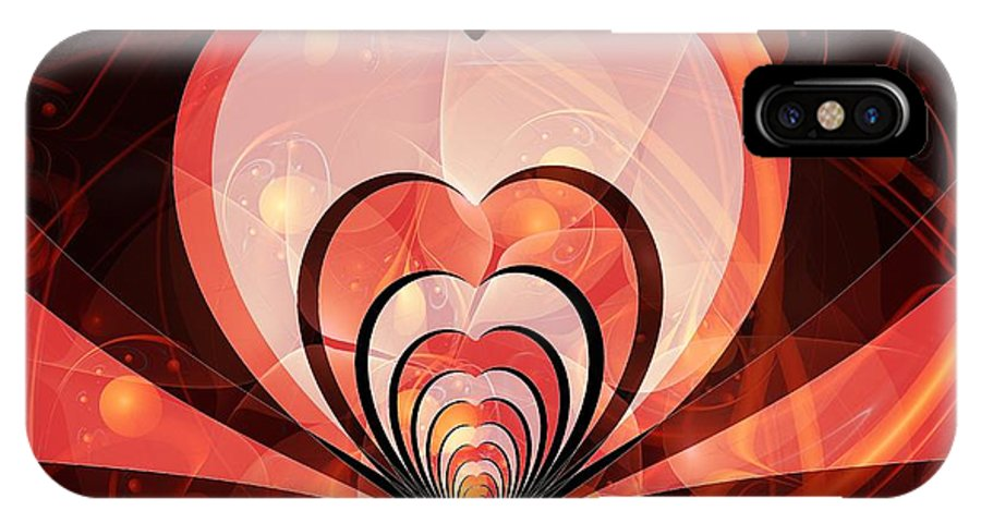 Malakhova IPhone X Case featuring the digital art Cherries And Hearts by Anastasiya Malakhova