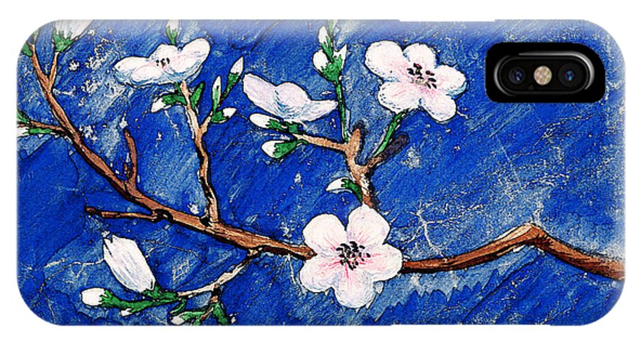 Cherry IPhone X Case featuring the painting Cherry Blossoms by Irina Sztukowski
