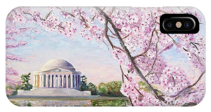 Jefferson Memorial IPhone X Case featuring the painting Jefferson Memorial Cherry Blossoms by Patty Kay Hall