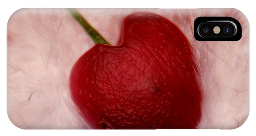 Heart Artred Cherry Heart IPhone X Case featuring the photograph Cherry Heart by Linda Sannuti
