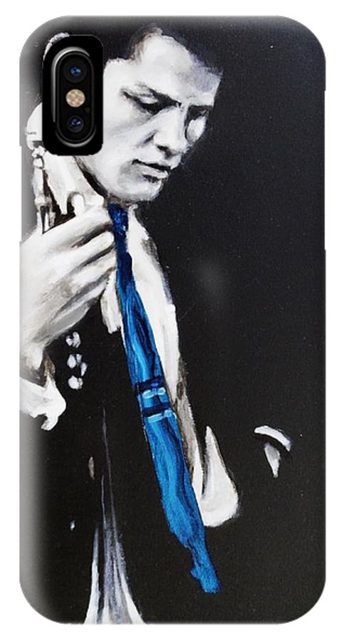 Chet Baker IPhone X Case featuring the painting Chet Baker - Almost Blue by Eric Dee
