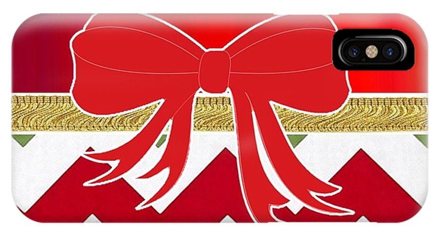 Christmas IPhone X Case featuring the digital art Chevron Christmas by Florene Welebny