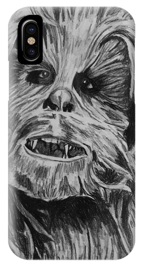 Chewbaca Star Wars Wookie Science Fiction Fantasy Movie IPhone X Case featuring the drawing Chewie by Jeremy Moore