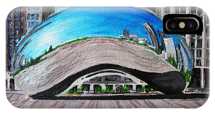 Chicago IPhone X Case featuring the painting Chicago Bean by Bridget Brummel