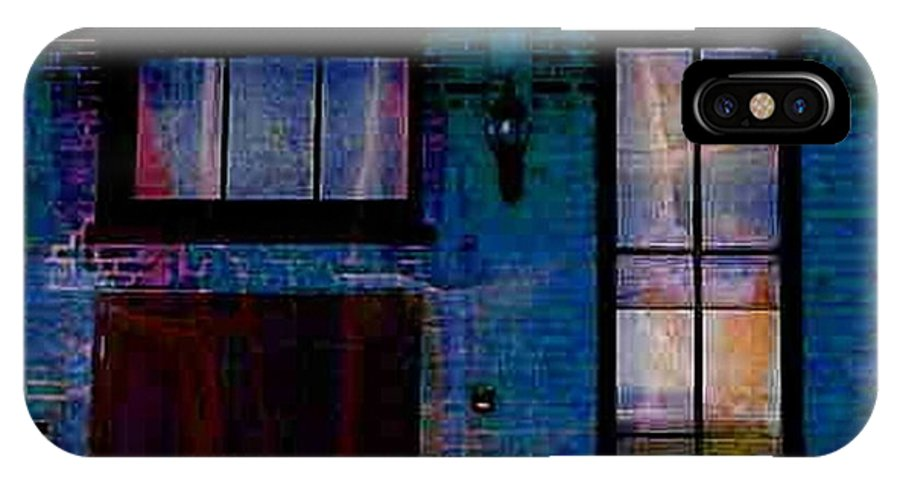 Chicago IPhone X Case featuring the digital art Chicago Brick Facade Night Moves by Ellen Cannon