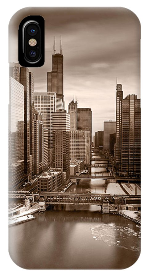 Train IPhone X Case featuring the photograph Chicago City View Afternoon B And W by Steve Gadomski