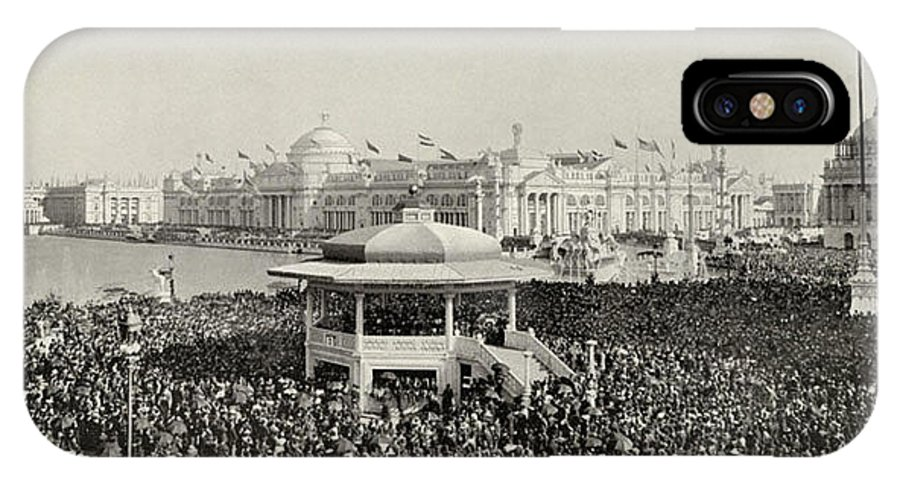 Columbian Exposition IPhone X Case featuring the photograph Chicago Day At Worlds Fair Columbian Exposition 1893 by Historic Photos