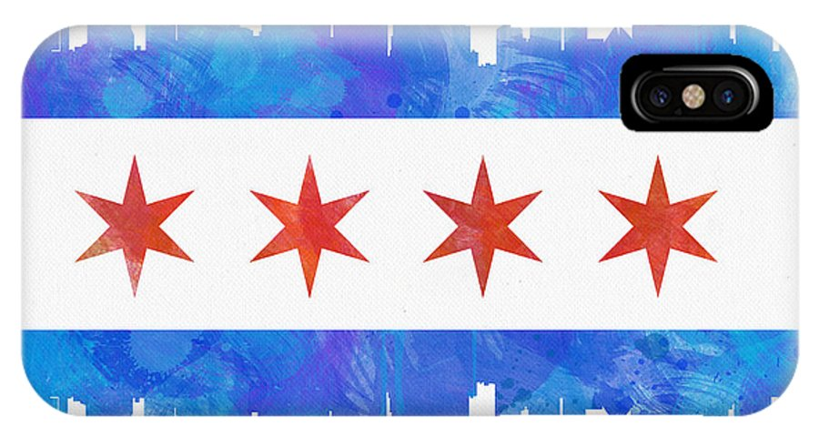 Chicago IPhone X Case featuring the painting Chicago Flag Watercolor by Mike Maher