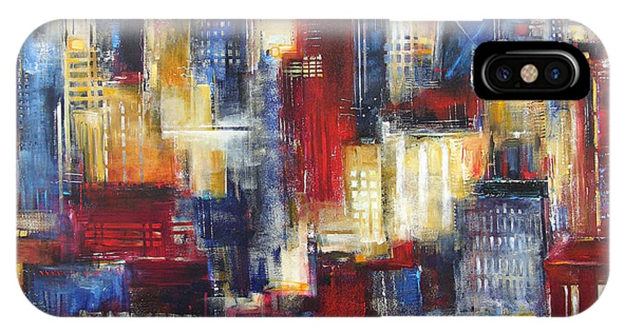 Chicago Art IPhone X / XS Case featuring the painting Chicago In The Evening by Kathleen Patrick