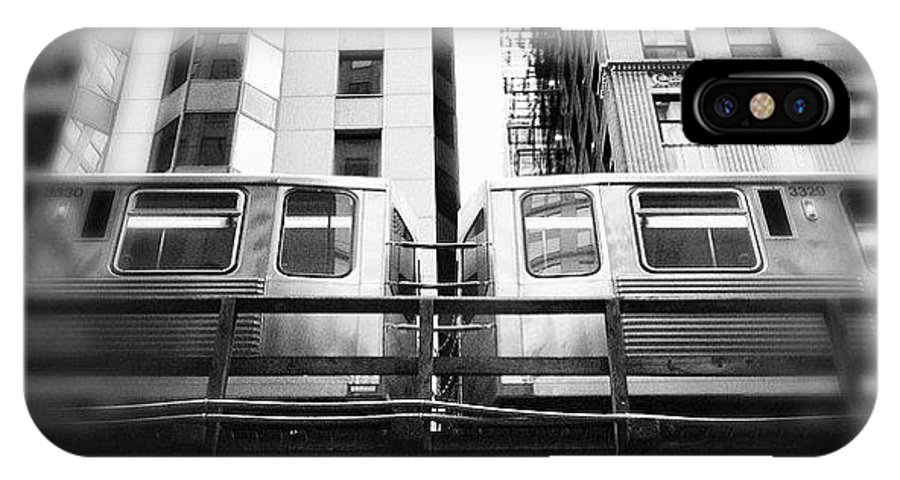 America IPhone X Case featuring the photograph Chicago L Train In Black And White by Paul Velgos