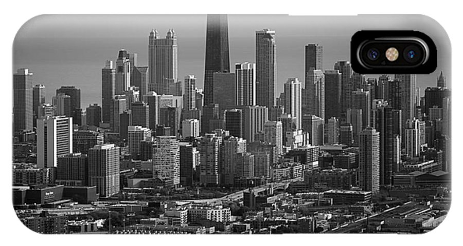 Black And White IPhone X / XS Case featuring the photograph Chicago Looking East 01 Black And White by Thomas Woolworth