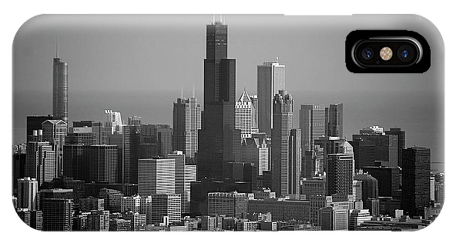 Black And White IPhone X / XS Case featuring the photograph Chicago Looking East 02 Black And White by Thomas Woolworth