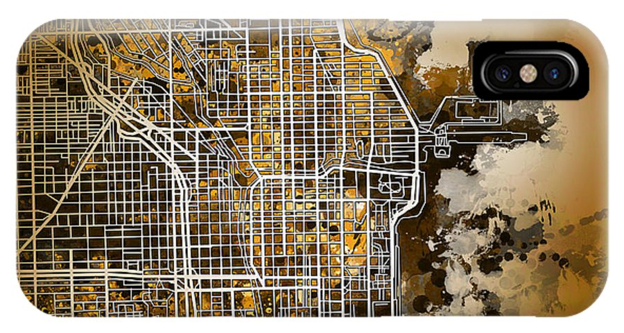 Chicago IPhone X Case featuring the painting Chicago Map Orange Version by Bekim M
