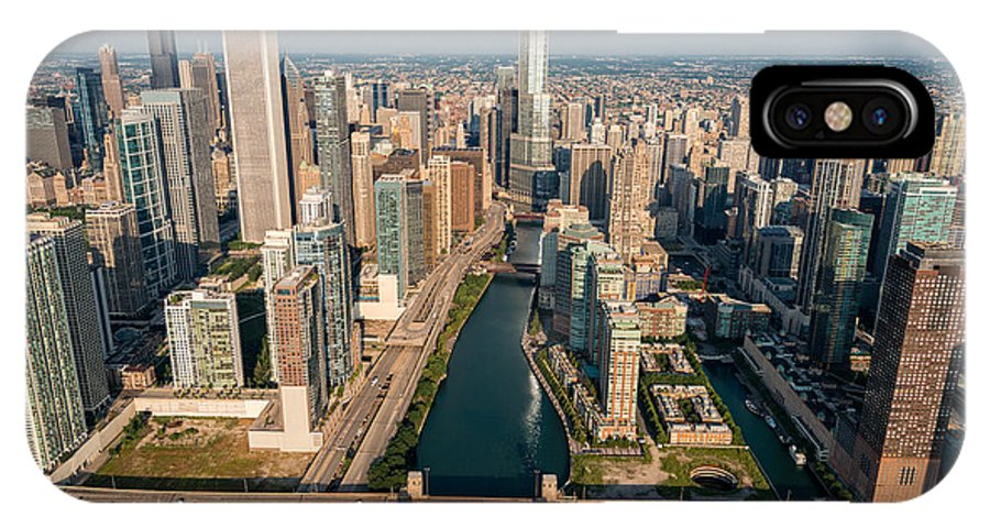 Chicago IPhone X Case featuring the photograph Chicago River Aloft by Steve Gadomski