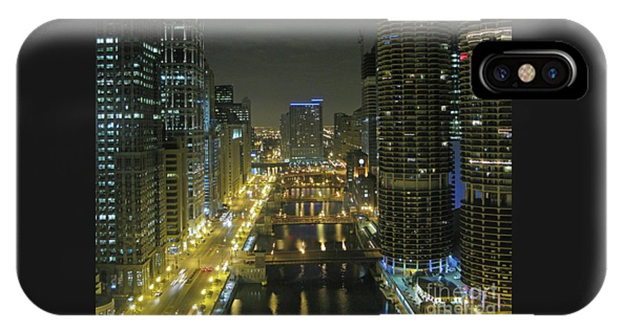 Chicagoland IPhone X Case featuring the photograph Chicago River At Night by Ann Horn