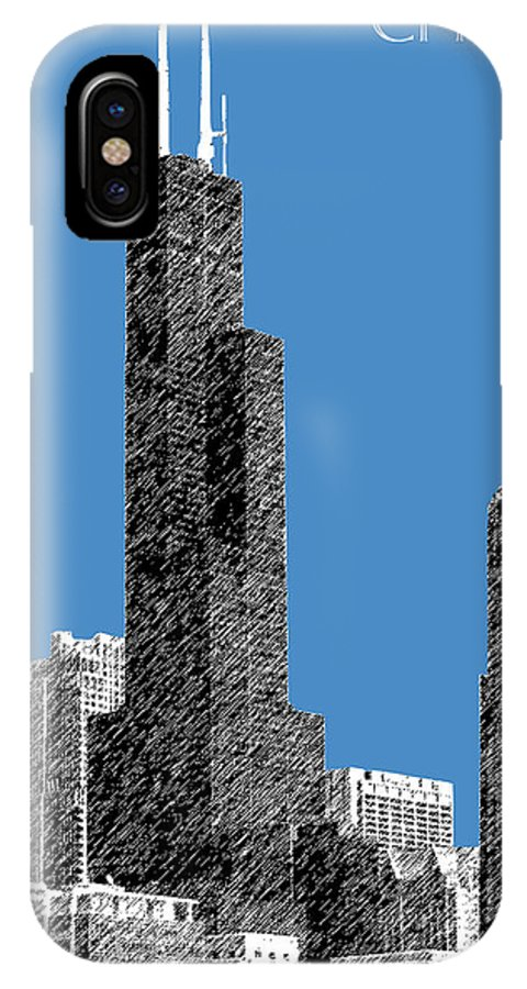 Architecture IPhone X Case featuring the digital art Chicago Sears Tower - Slate by DB Artist