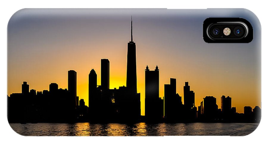 Chicago IPhone X Case featuring the photograph Chicago Skyline At Dusk by Les Lovett
