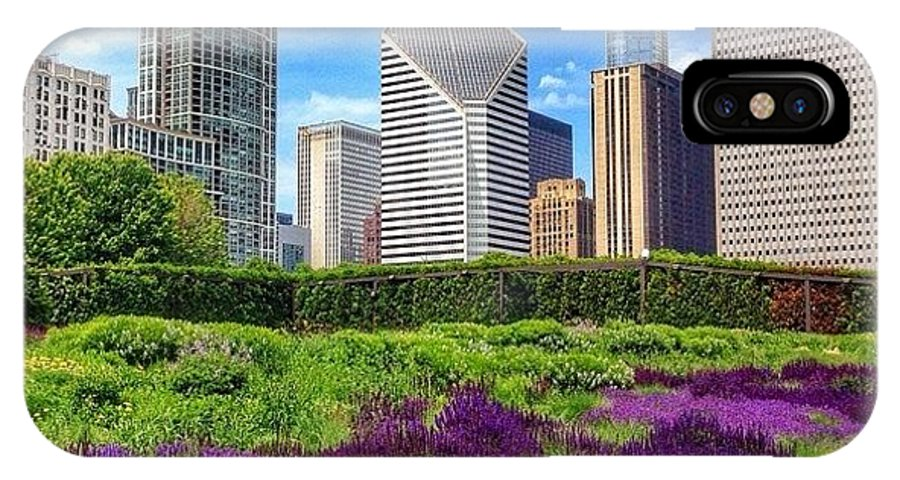 Beautiful IPhone X Case featuring the photograph Chicago Skyline At Lurie Garden by Paul Velgos