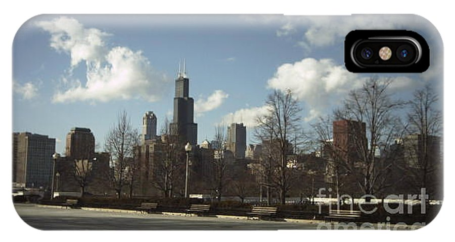 Chicago Skyline IPhone Case featuring the photograph Chicago Skyline Postcard by Minding My Visions by Adri and Ray