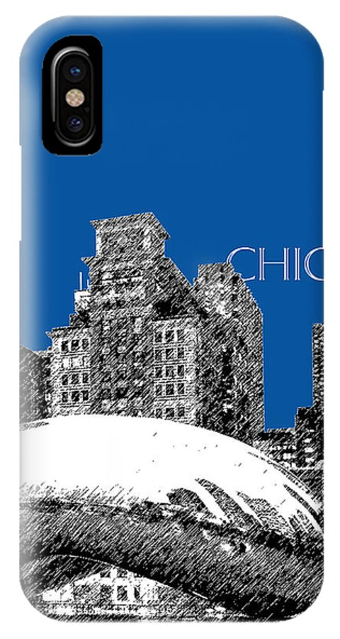 Architecture IPhone X Case featuring the digital art Chicago The Bean - Royal Blue by DB Artist