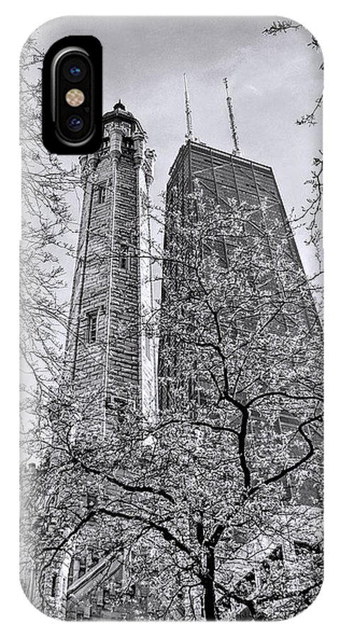 Chicago Water Tower IPhone X Case featuring the photograph Chicago Water And Hancock Towers Black And White by Christopher Arndt