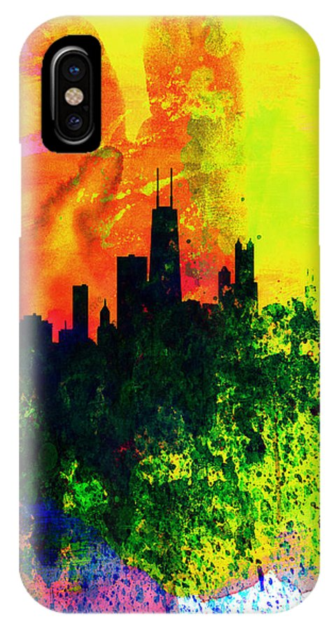 Chicago IPhone X / XS Case featuring the painting Chicago Watercolor Skyline by Naxart Studio