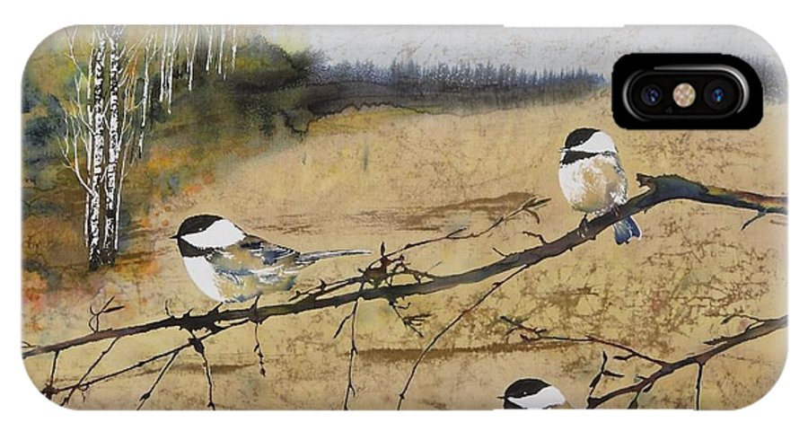 Nature IPhone X Case featuring the tapestry - textile Chickadees And A Row Of Birch Trees by Carolyn Doe
