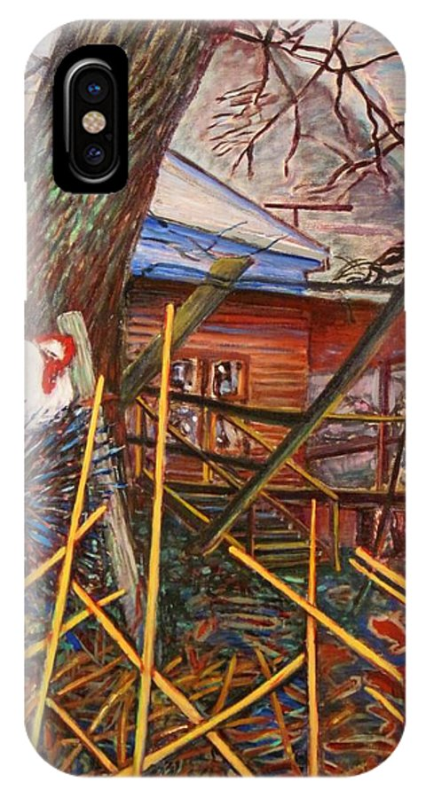 Chicken IPhone X Case featuring the painting Chicken On Fence Zinc Arkansas by Ken Wohlgemuth