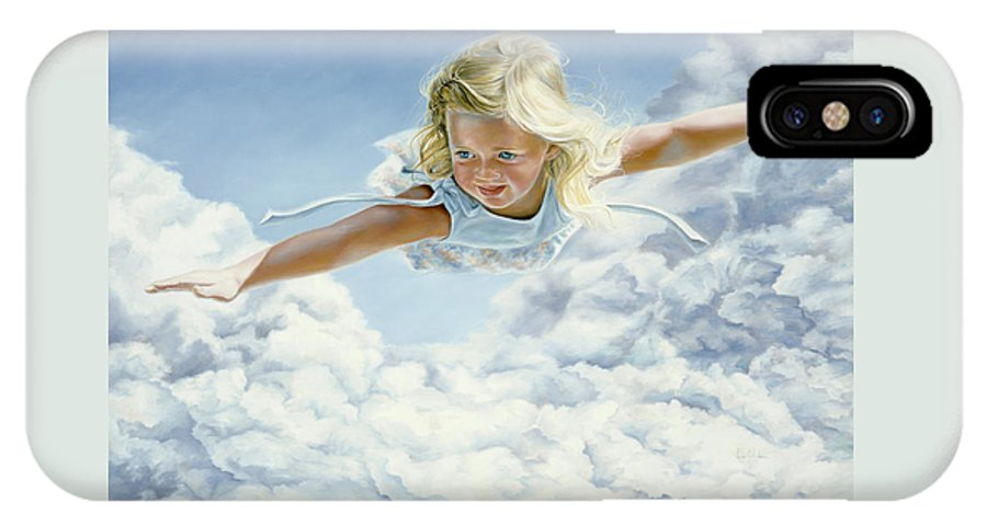 Sky IPhone X Case featuring the painting Child's Dream by Lucie Bilodeau