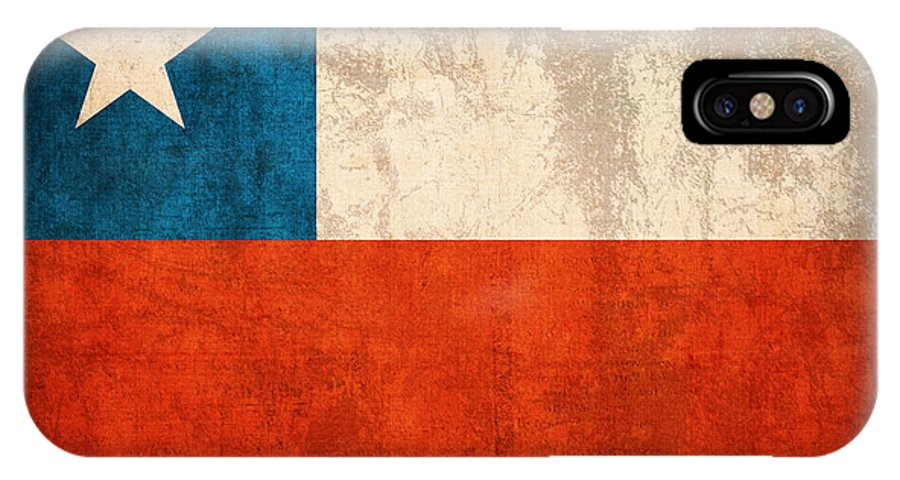 Chile Flag Vintage Distressed Finish IPhone X Case featuring the mixed media Chile Flag Vintage Distressed Finish by Design Turnpike