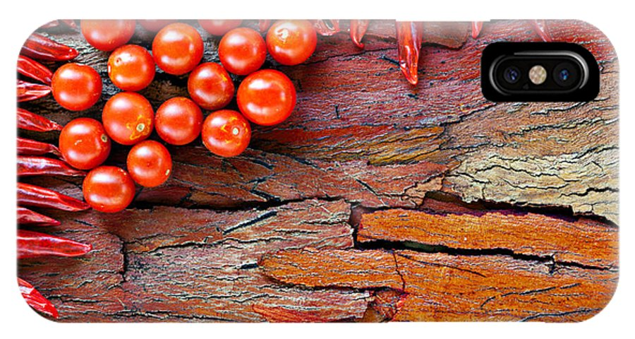 Food IPhone X Case featuring the photograph Chilli And Tomato On Rustic Background by Ken Biggs