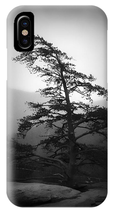 Kelly Hazel IPhone X Case featuring the photograph Chimney Rock Lone Tree In Black And White by Kelly Hazel