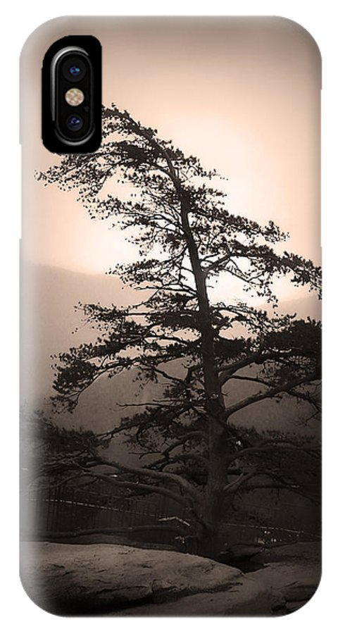 Kelly Hazel IPhone X Case featuring the photograph Chimney Rock Lone Tree In Sepia by Kelly Hazel