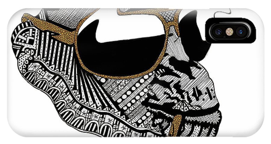 Chimp IPhone X Case featuring the drawing Chimp 10 by Karen Larter