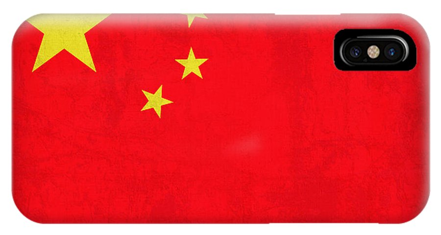 China Flag Vintage Distressed Finish IPhone X Case featuring the mixed media China Flag Vintage Distressed Finish by Design Turnpike