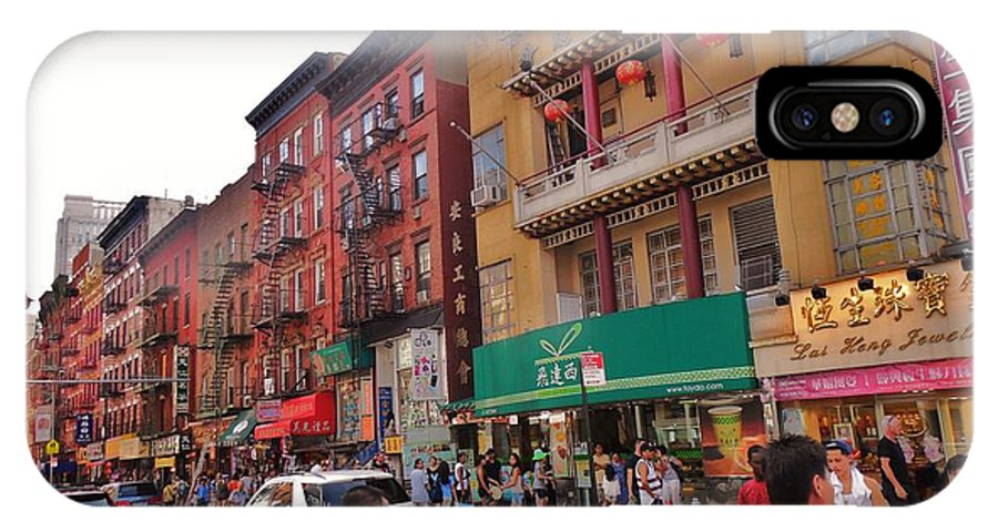 China Town Nyc IPhone X Case featuring the photograph China Town Nyc by Robin Coaker
