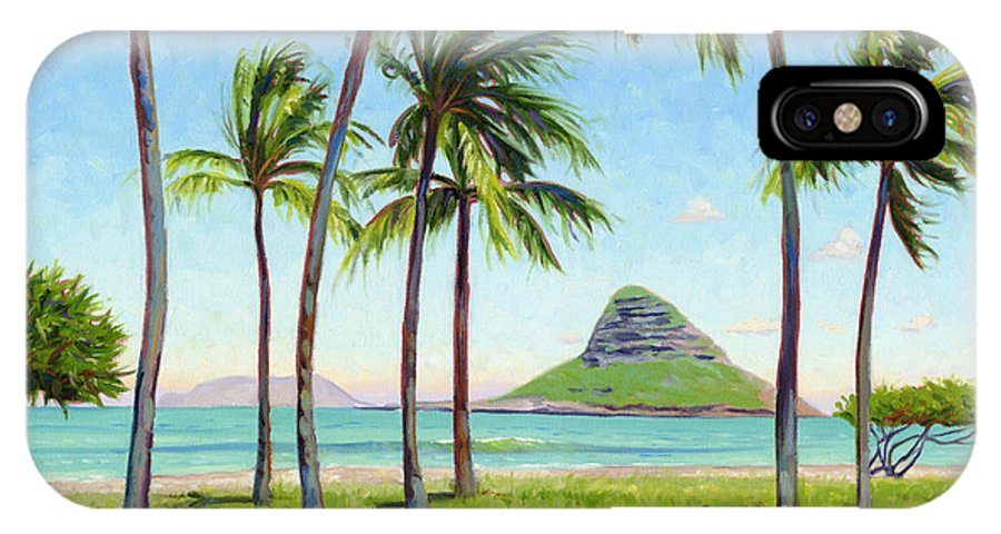 Chinamans Hat IPhone X Case featuring the painting Chinamans Hat - Oahu by Steve Simon