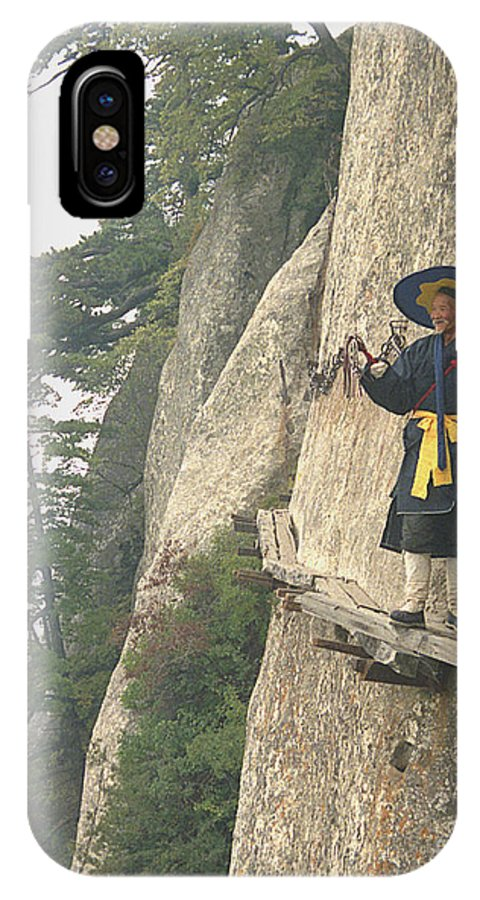 Chinese Monk IPhone X Case featuring the photograph Chinese Monk Walking Along On Mountain Pathway by King Wu