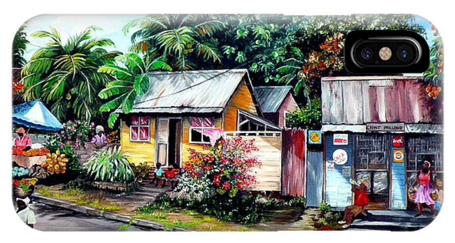 Landscape Painting Caribbean Painting Shop Trinidad Tobago Poinciana Painting Market Caribbean Market Painting Tropical Painting IPhone X Case featuring the painting Chins Parlour   by Karin Dawn Kelshall- Best