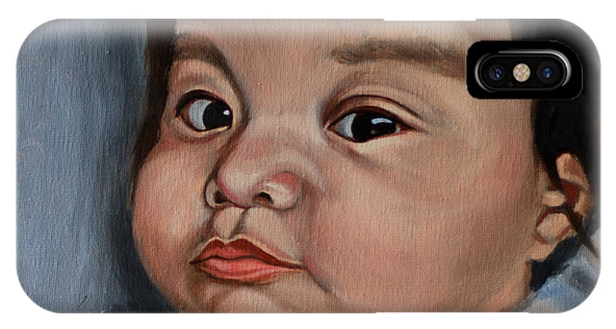Child Portrait IPhone X Case featuring the painting Chloe 1 by Lucy Chen
