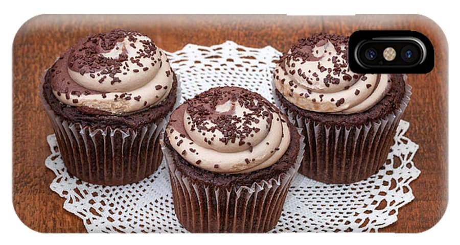 Baked IPhone X Case featuring the photograph Chocolate Caramel Cupcakes by Les Palenik